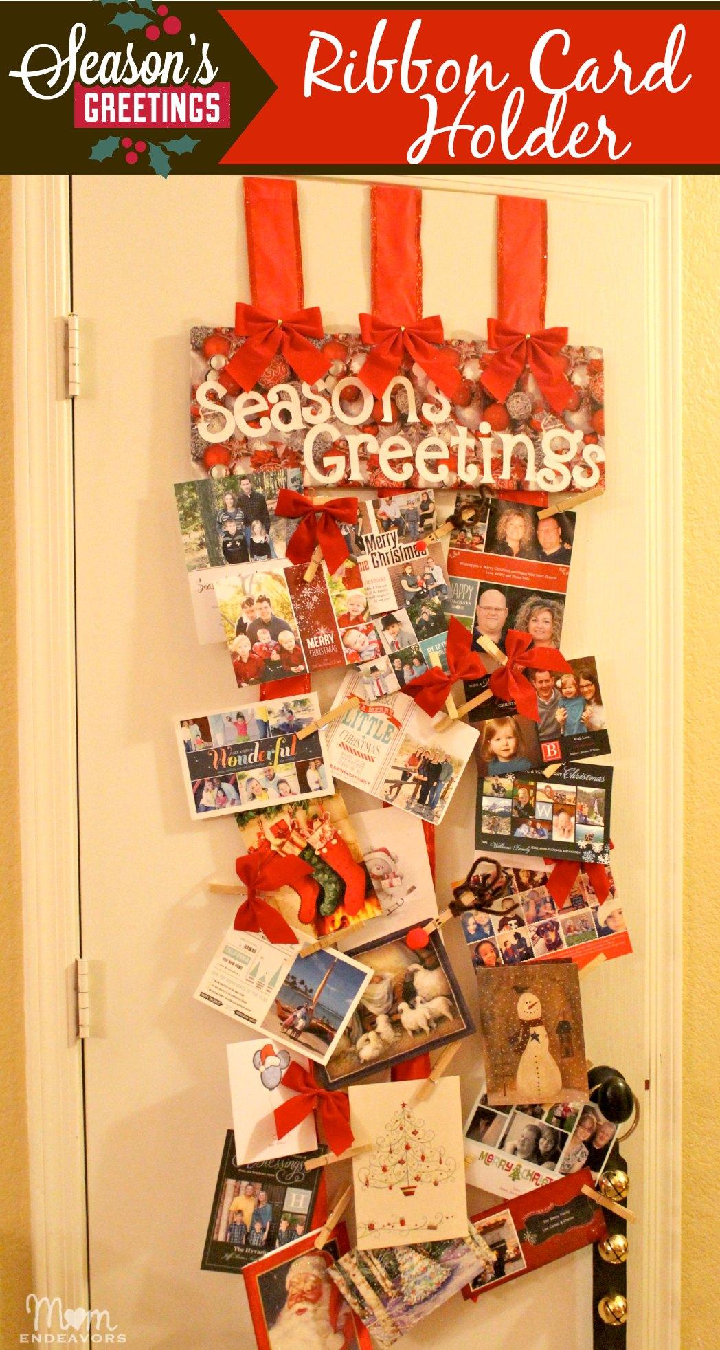 ribbon christmas card holder - Photo Holder Christmas Cards