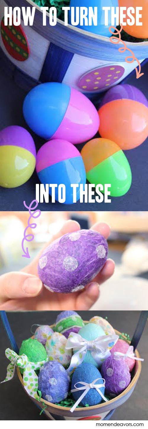 Easy paper mache plastic Easter eggs