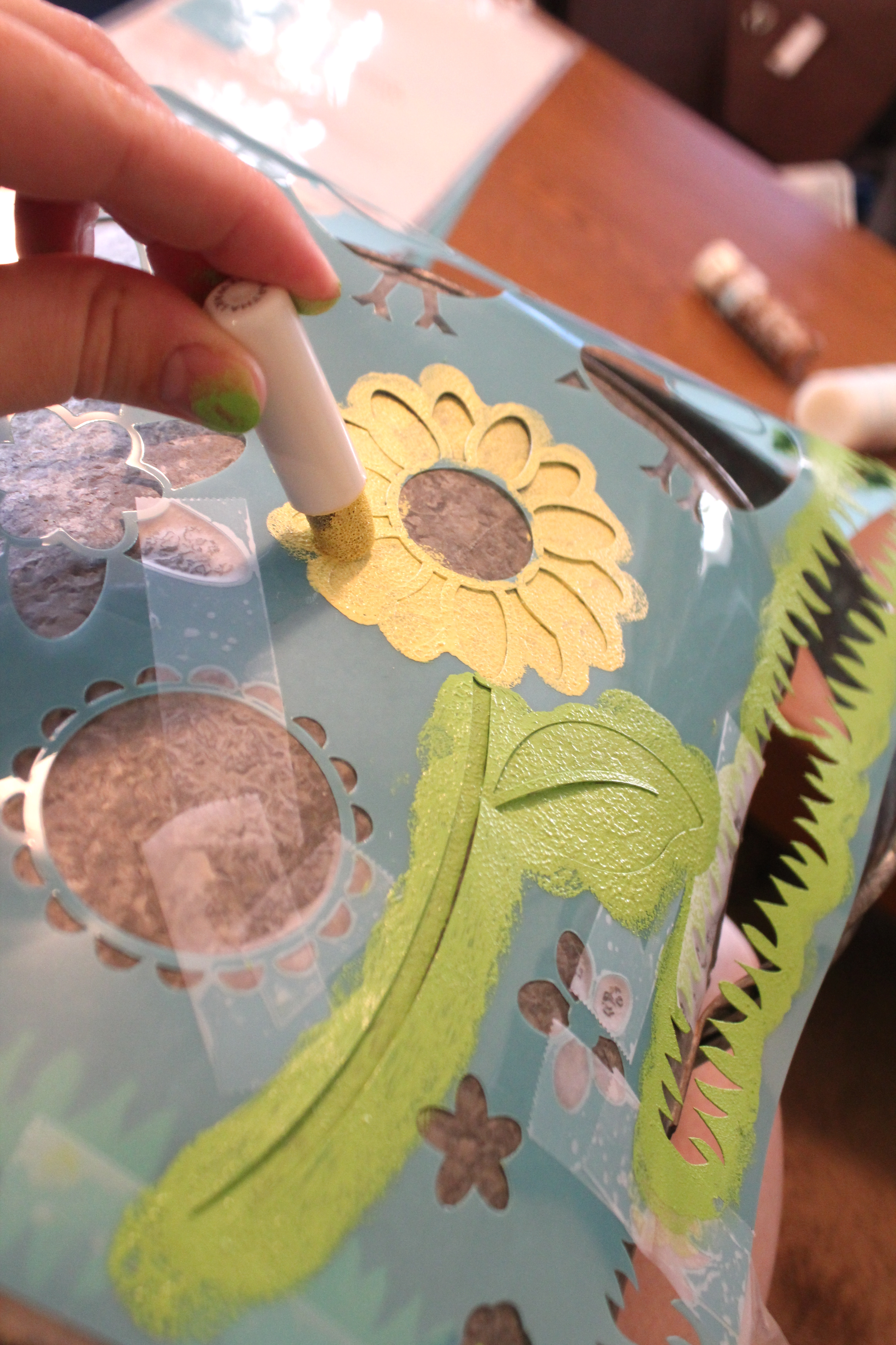 Stenciled Watering Can with New Martha Stewart Decorative Paint Line!