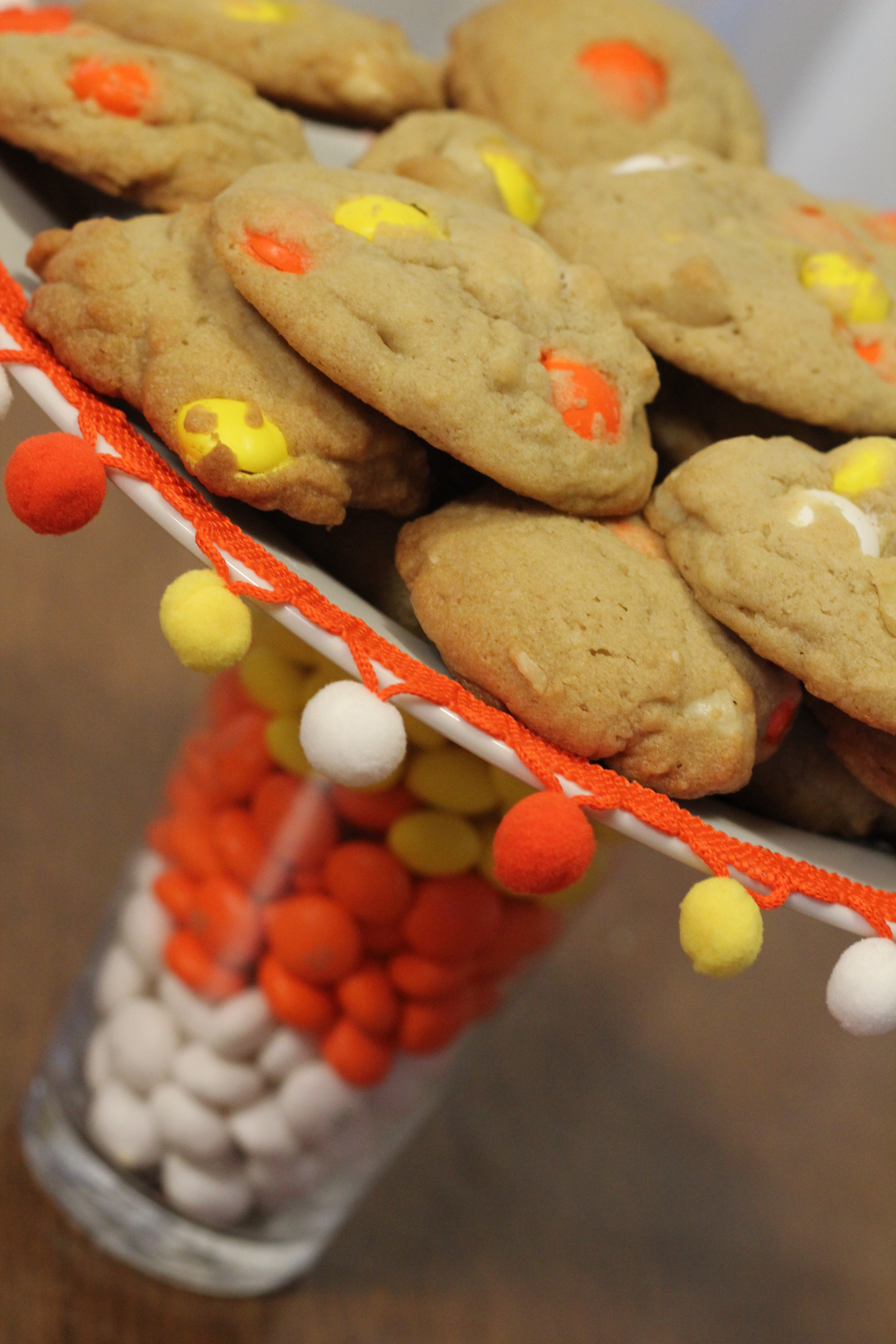 M&M's candy corn white chocolate macadamia nut cookies