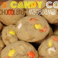 M&M's Candy Corn White Chocolate Macadamia Nut Cookies