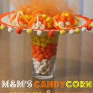 M&M's Candy Corn Cake Plate & Treat Bags #MMsGetCorny