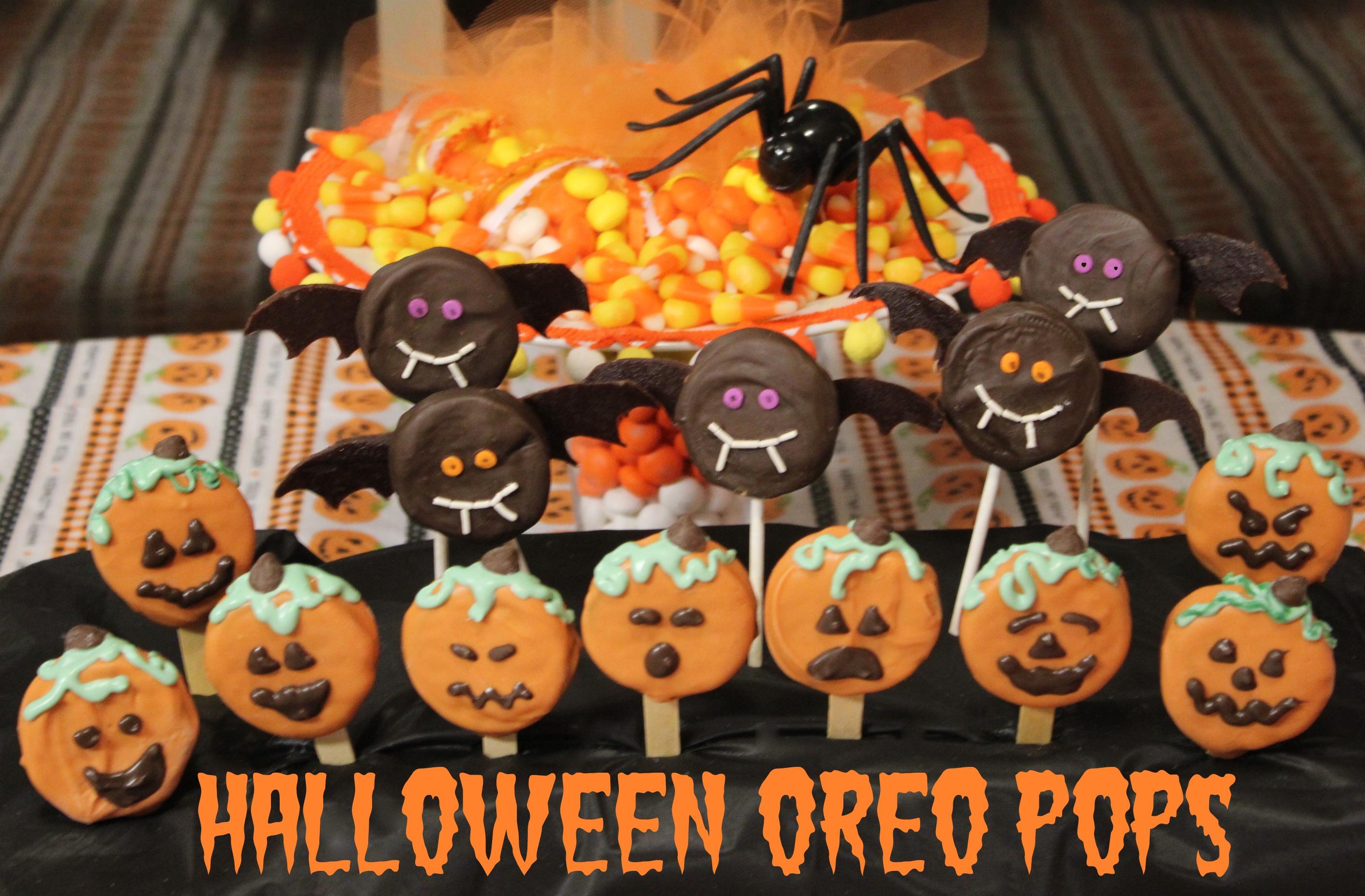 Halloween Oreo Pops  Bats  amp  Pumpkins  Oreo Halloween Desserts