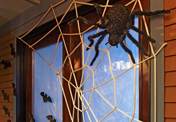 but then i saw this giant spider web idea which reminded be of the train tracks from the boys birthday party made with frictionelectrical tape