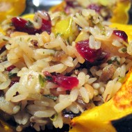 Cornucopia of Creativity: Vegetarian Pear-Cranberry Wild Rice Stuffed Acorn Squash {A Little Bite of Life}