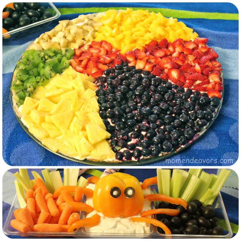 Party Food Spread For Kids: Beach Ball Fruit Pizza & Bell Pepper Octopus Veggie Dip