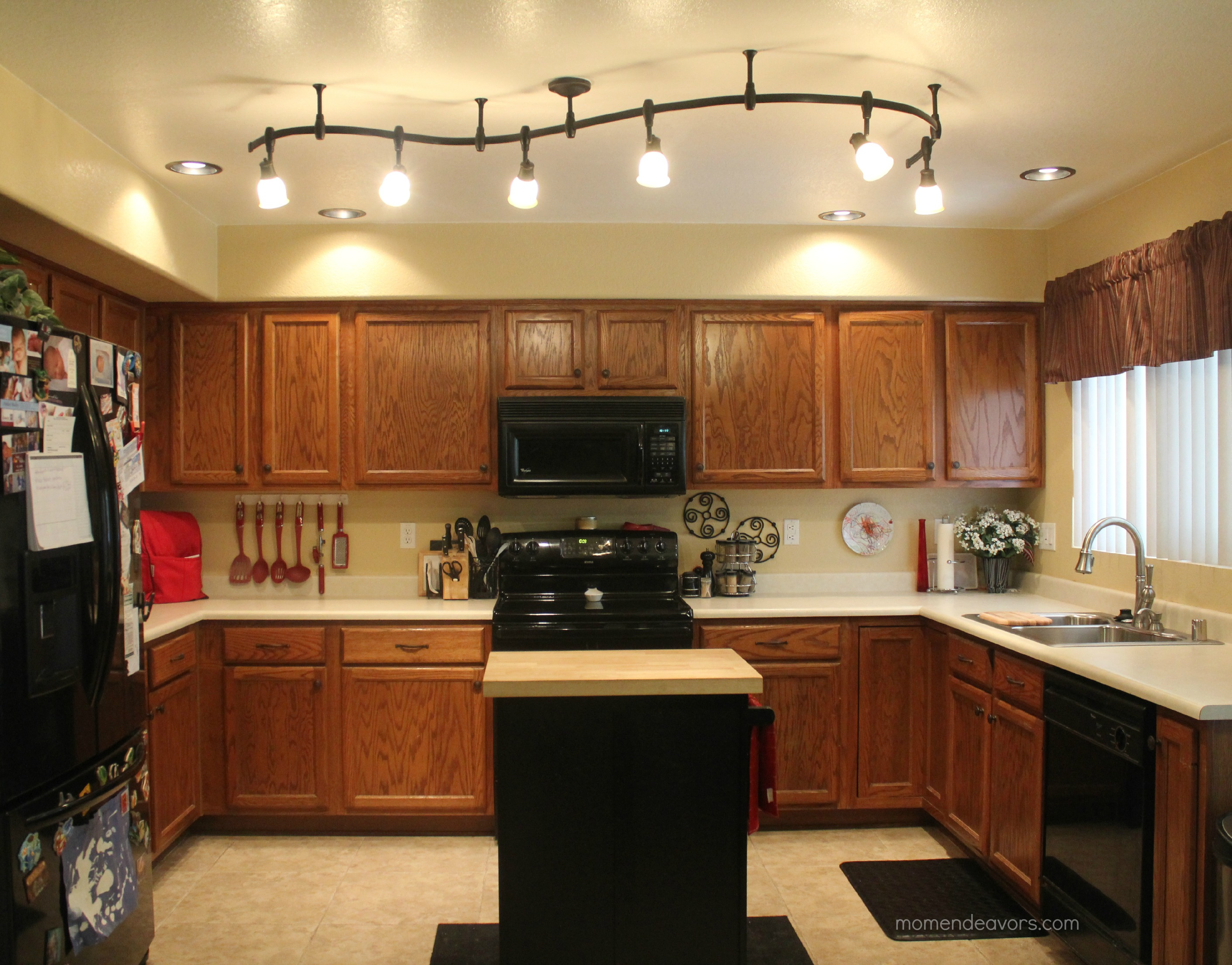 Mini Kitchen Remodel – New lighting makes a WORLD of difference!