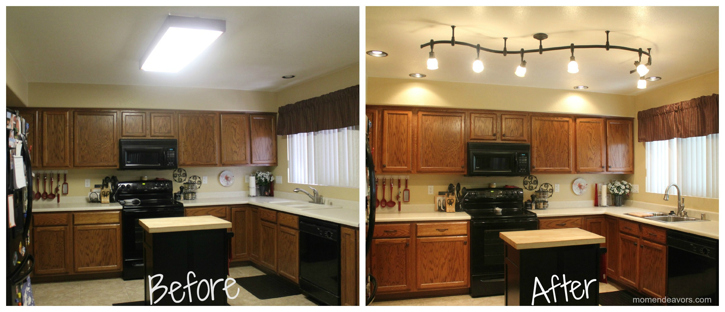 Mini kitchen remodel new lighting makes a world of for Kitchen remodel before after