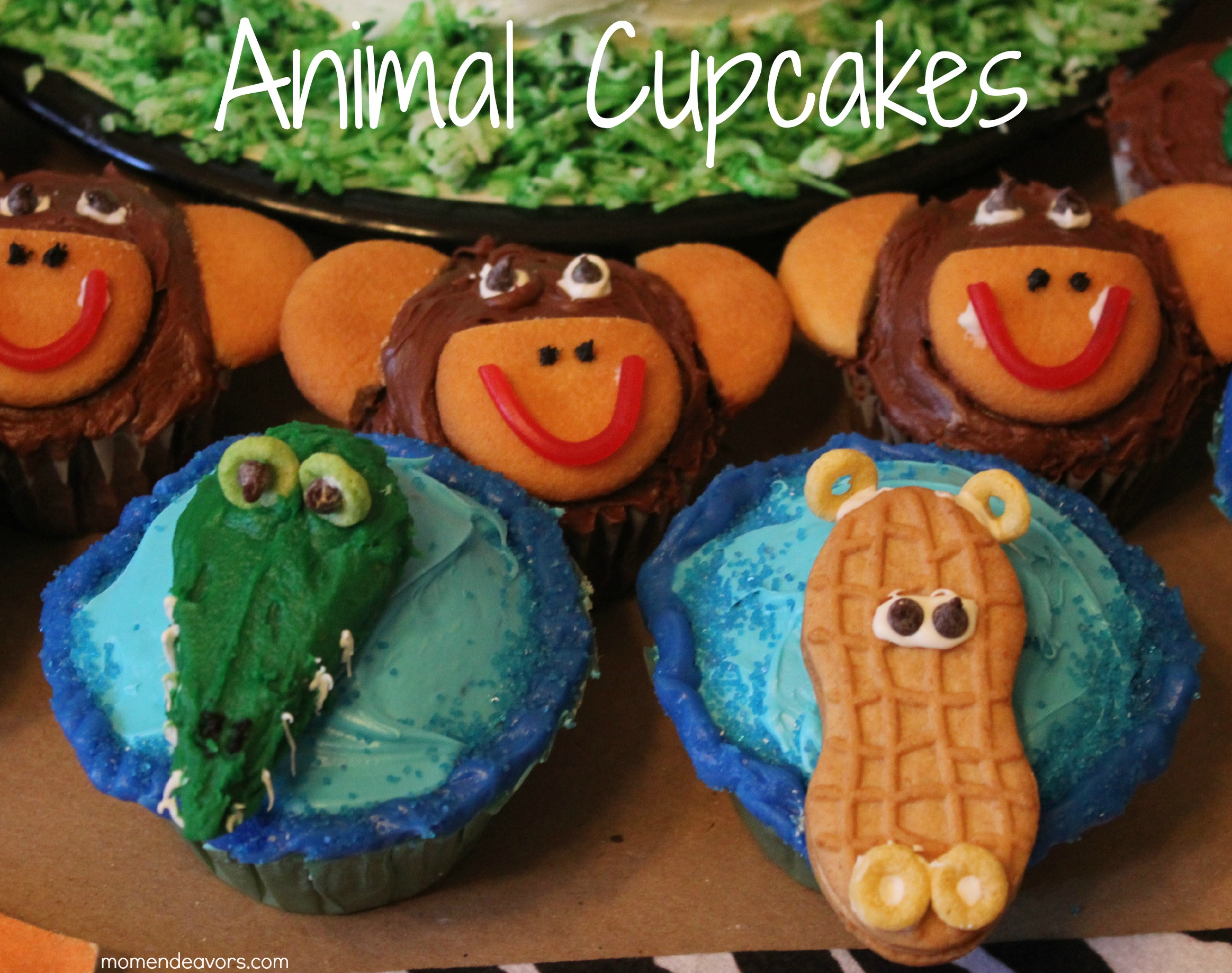 Peachy Wild Kratts Party Jungle Animal Cupcakes Directions Mom Endeavors Personalised Birthday Cards Akebfashionlily Jamesorg