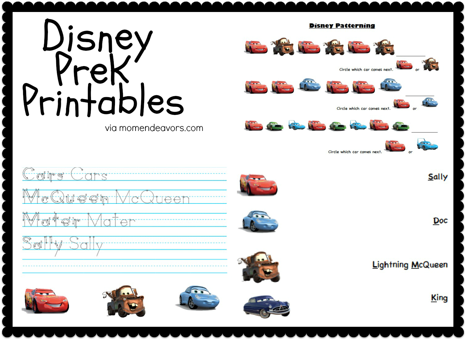 disney pixar cars prek printable activity sheets travel tuesday - Preschool Printable Activities