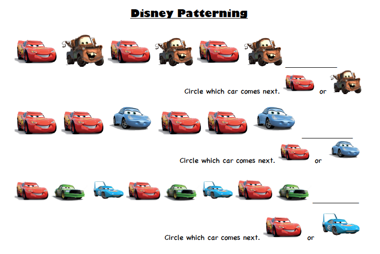 Disney Pixar Cars PreK Printable Activity Sheets Travel