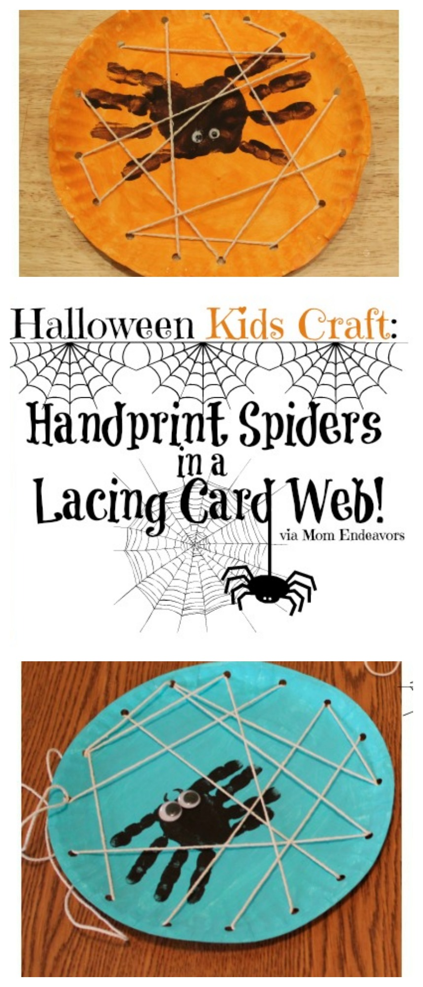 Handprint Spiders in a Lacing Card Web