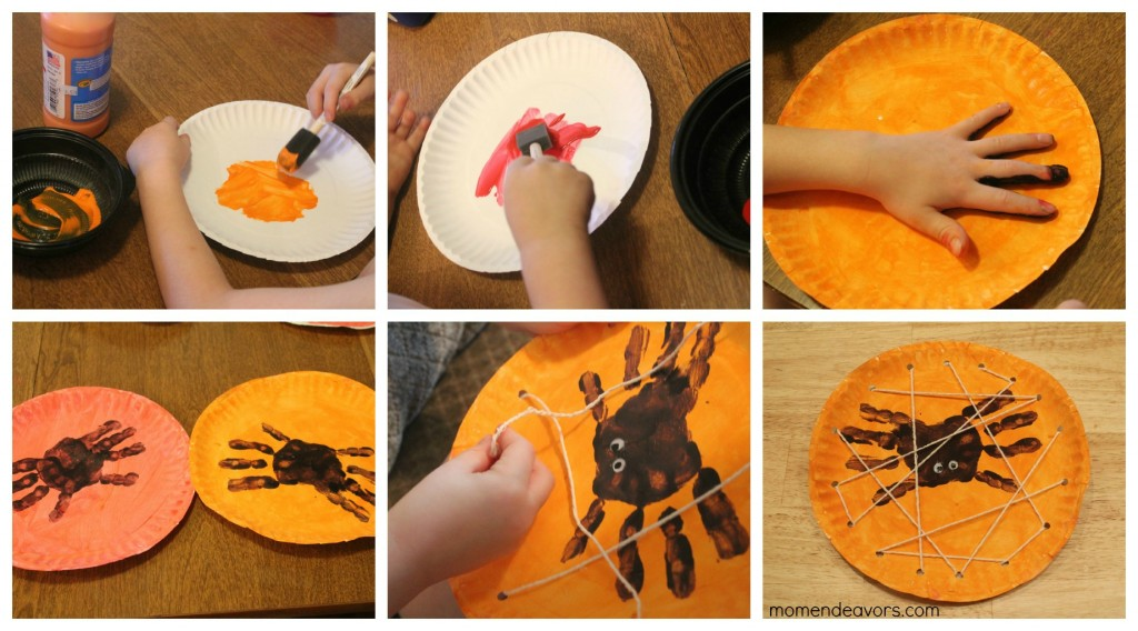 Halloween kids craft handprint spiders in a diy lacing for Halloween decorations crafts to make