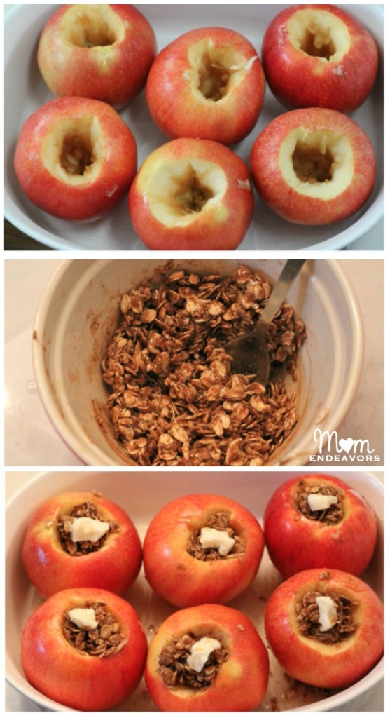 Making oatmeal stuffed baked apples