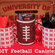 DIY Football Party Canisters {College Football Saturday Link Party}