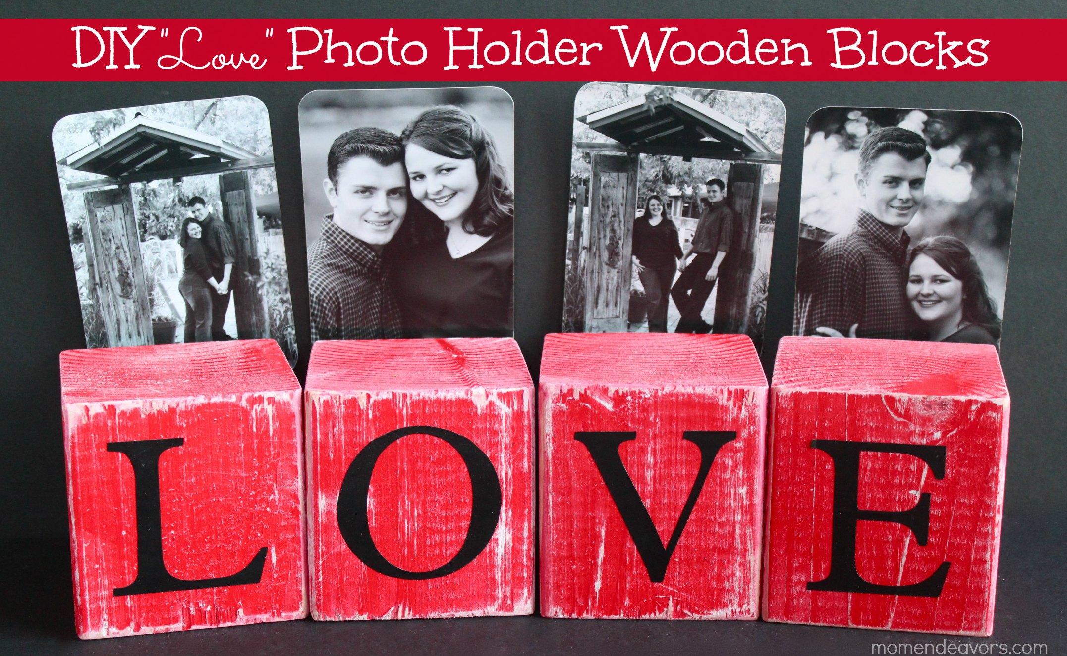 DIY Love Photo Holder Wooden Blocks