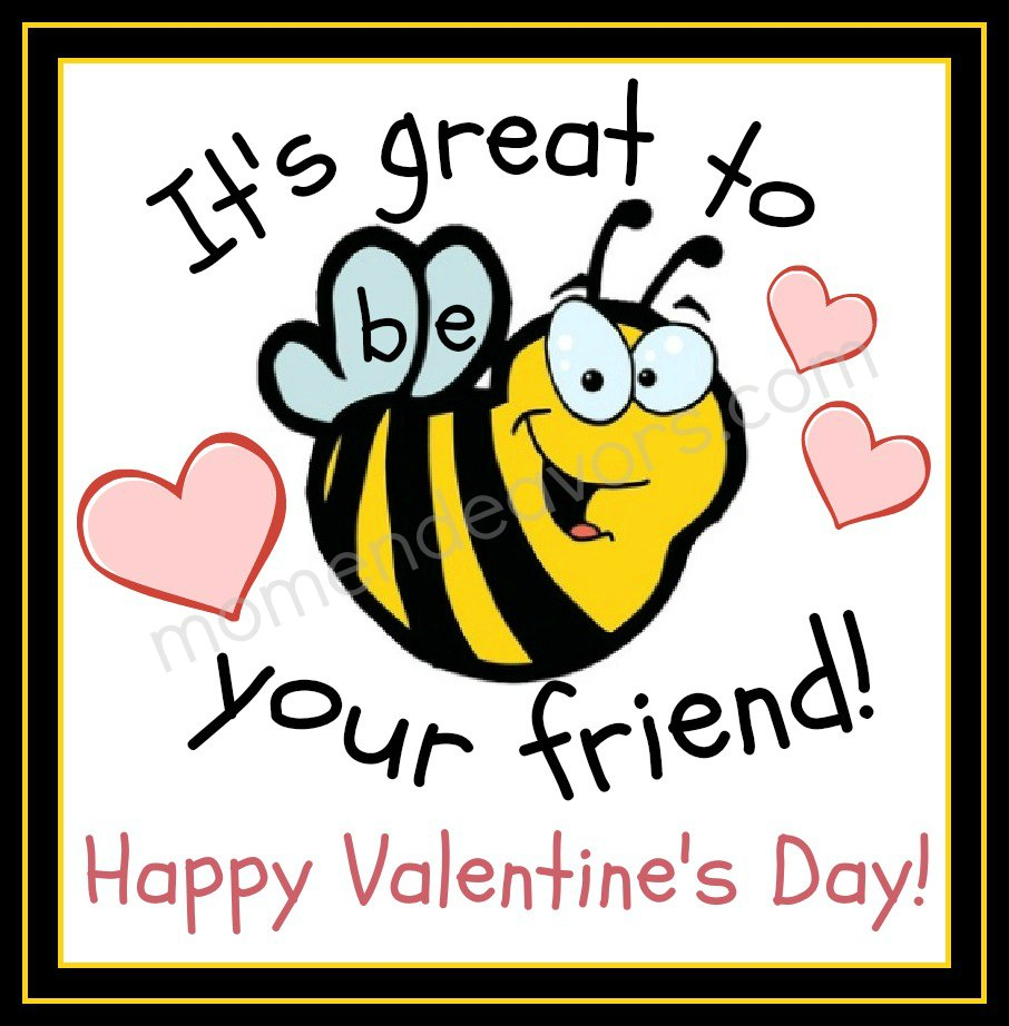 Bee Valentines Free Printable – Valentines Cards for Friends