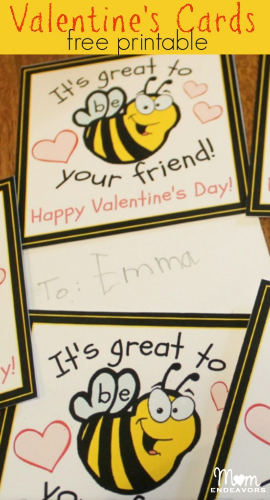Bee Valentine's Cards - free printable