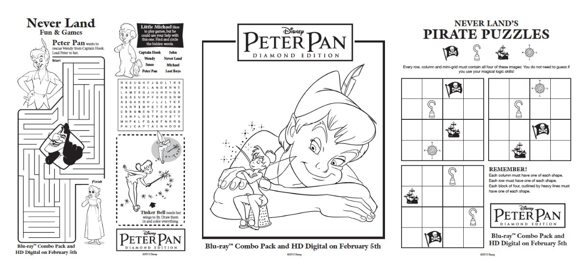 free peter pan activities printables
