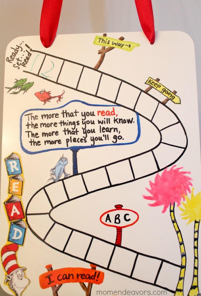 Seuss-inspired reading chart