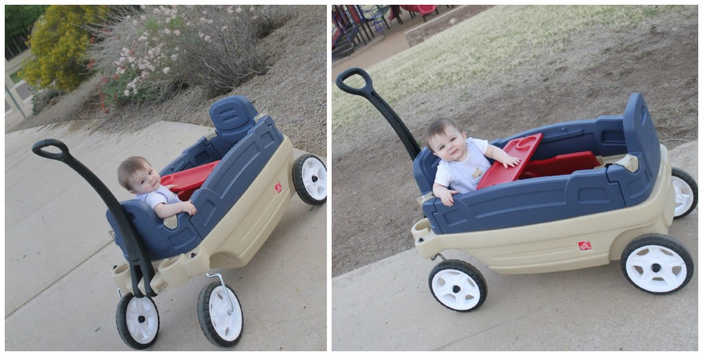 Baby in Step2 Wagon