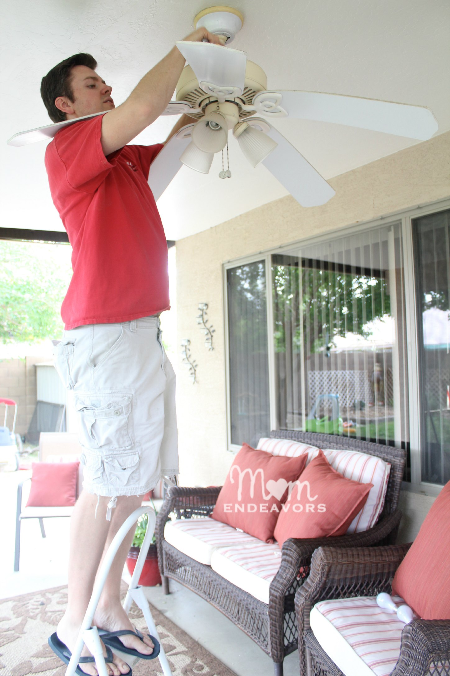 Patio lighting ceiling fan makeover lowescreator ceiling fan makeover publicscrutiny Choice Image