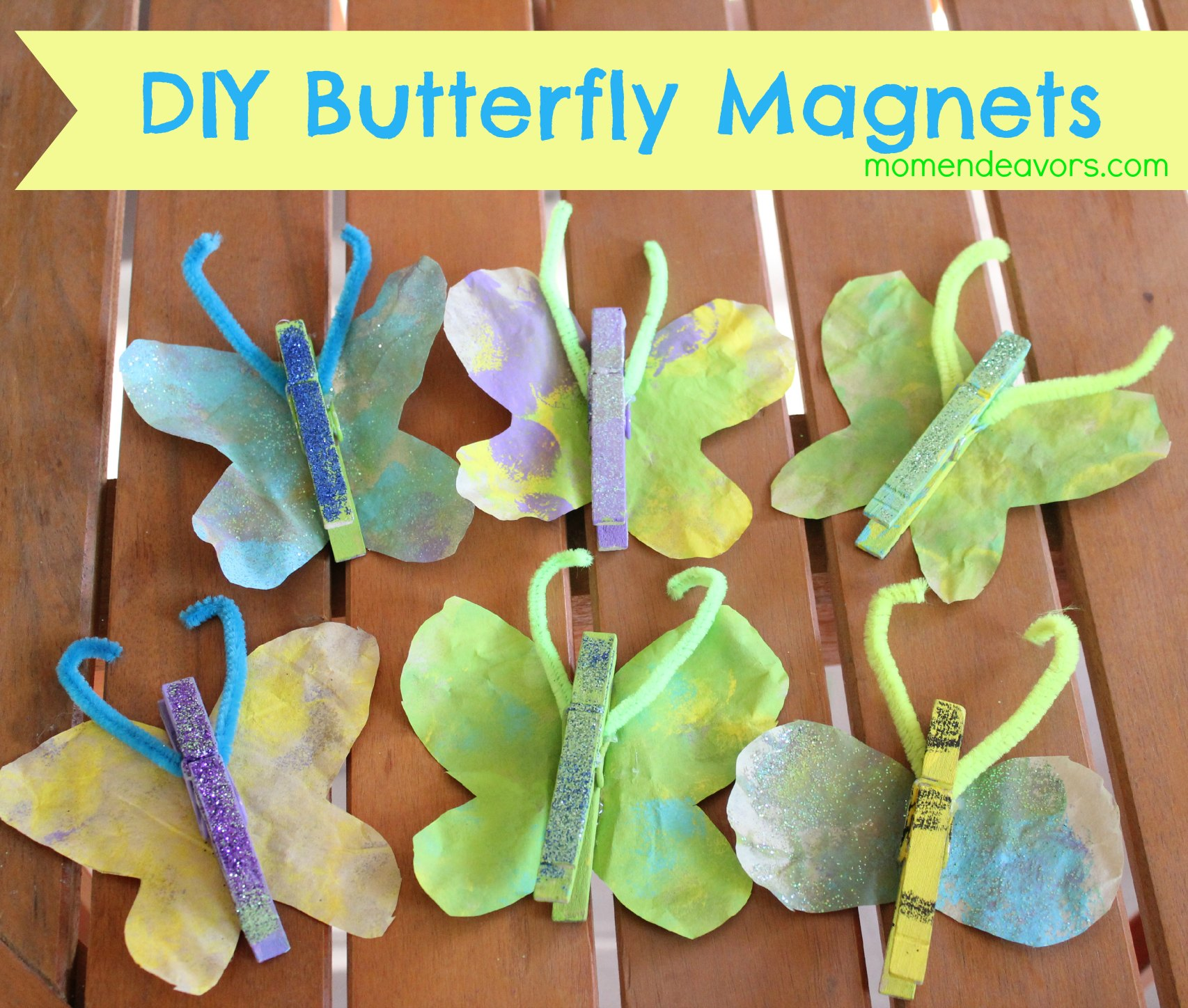Kids craft diy butterfly magnets for Diy art projects for kids