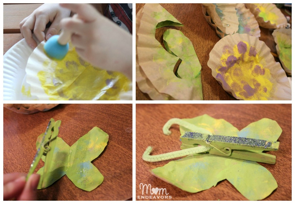 Making clothespin butterflies