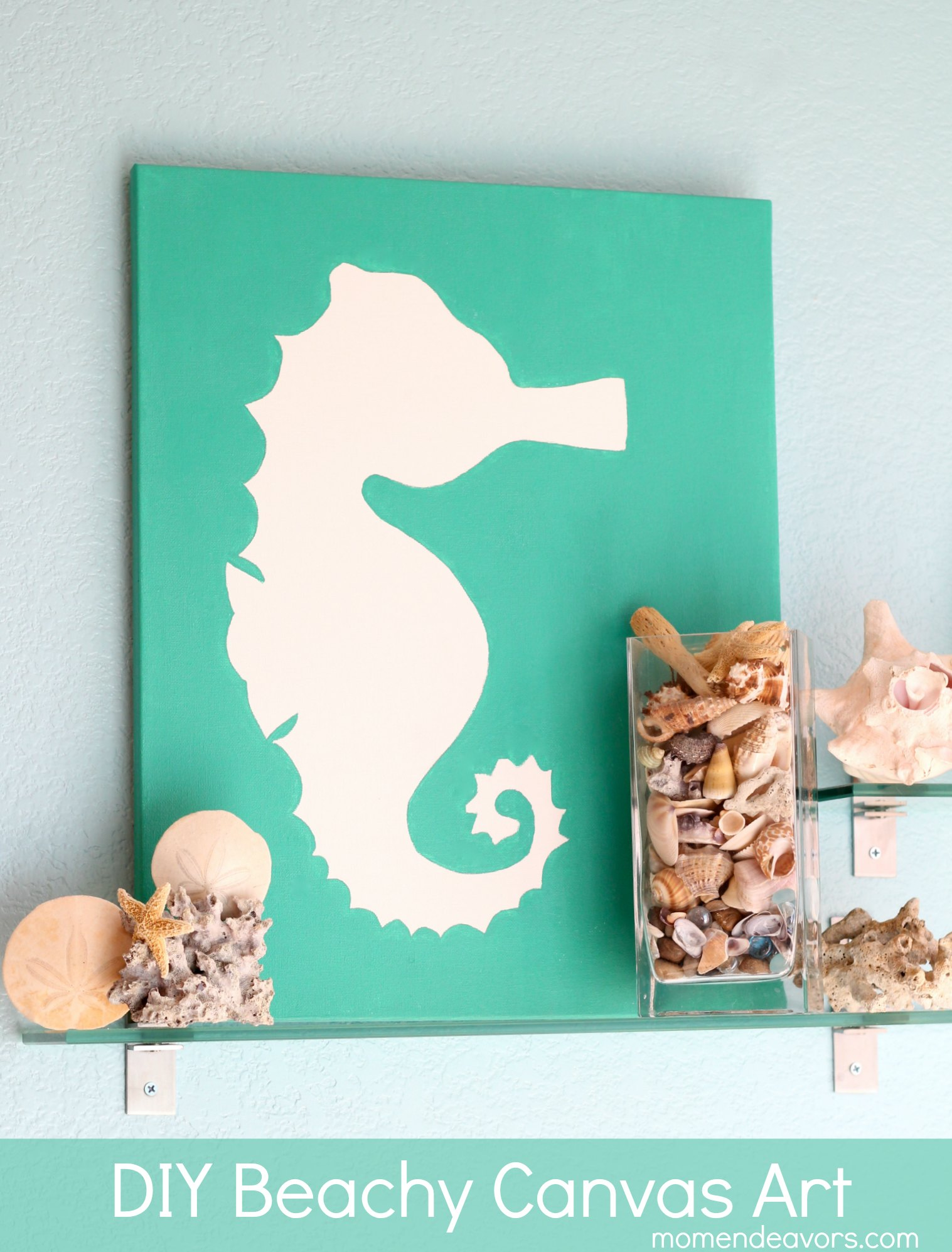 Diy art beachy seahorse canvas Diy canvas painting designs