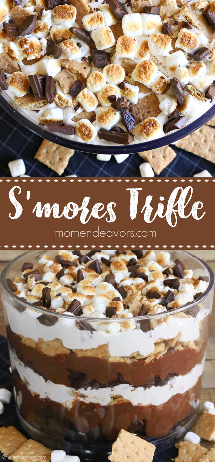 A collage of s'mores trifle dessert