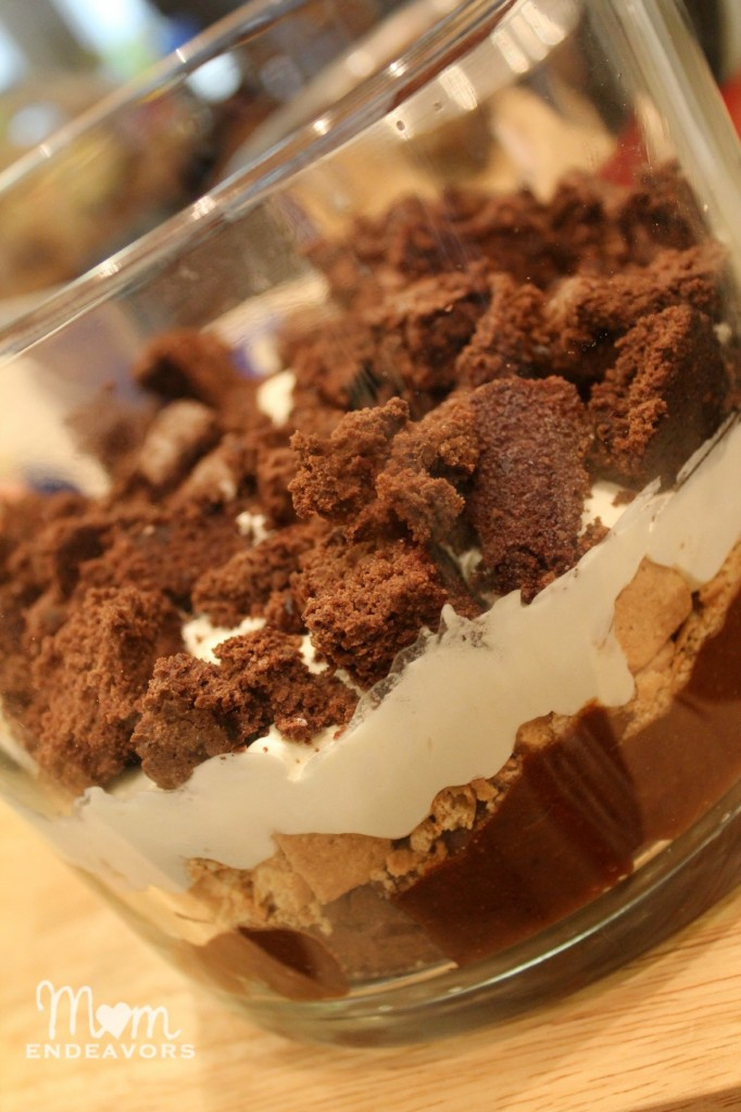 Layering brownie s'mores trifle