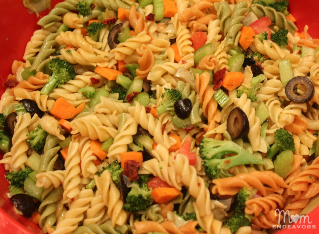 Making pasta salad