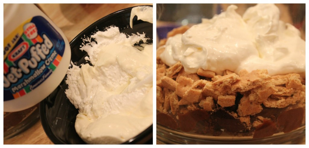 Marshmallow creme in s'mores trifle
