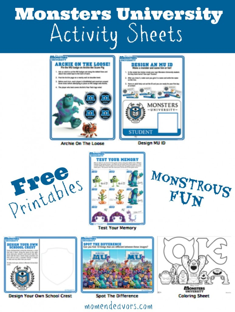 Free Printable Monsters University Activity Sheets Monstersu