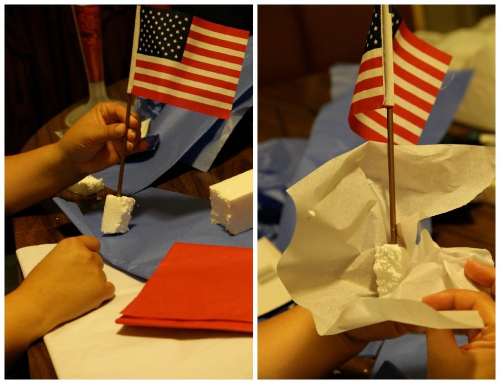 Making a patriotic centerpiece