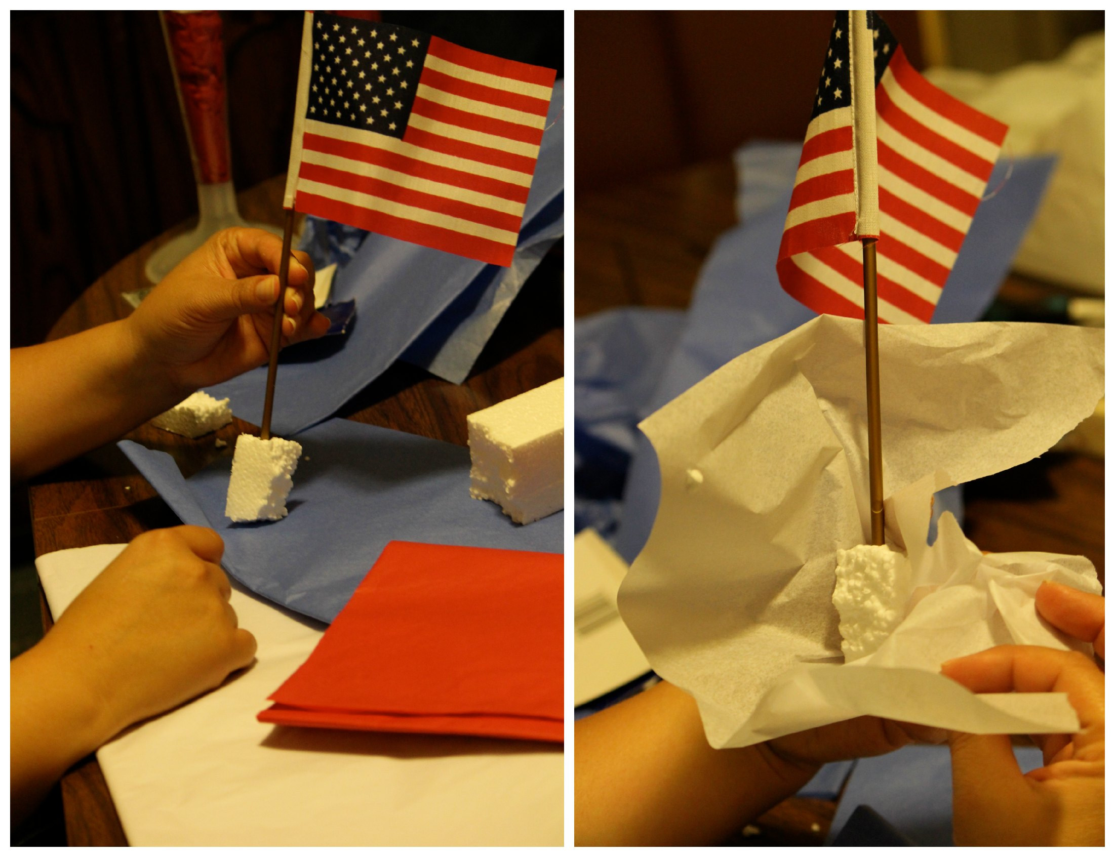 Easy DIY Patriotic 4th of July Table Decor : Making a patriotic centerpiece from www.momendeavors.com size 2202 x 1693 jpeg 417kB