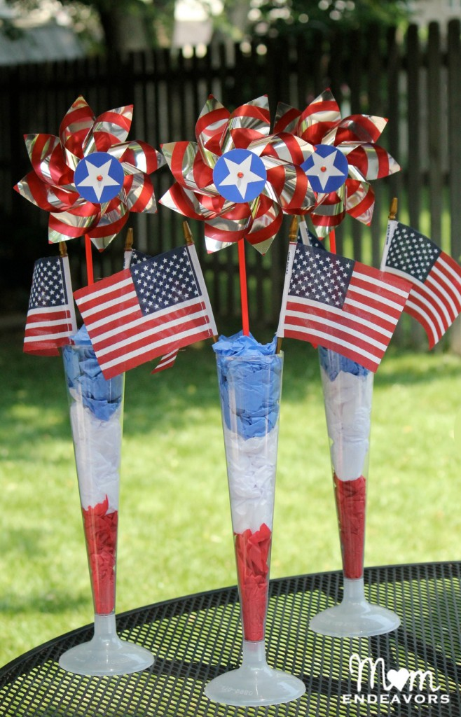 Red, white, & blue centerpieces