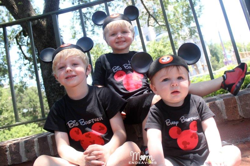 Brothers matching DIY Mickey shirts
