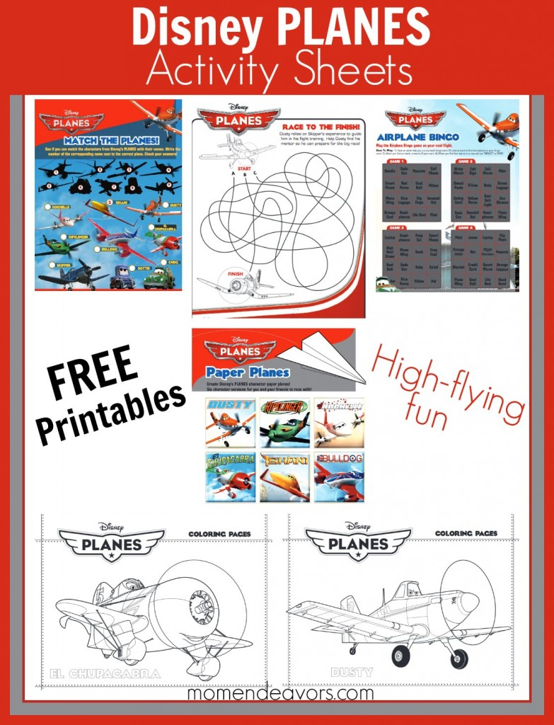 Disney Planes Free Activity Sheets