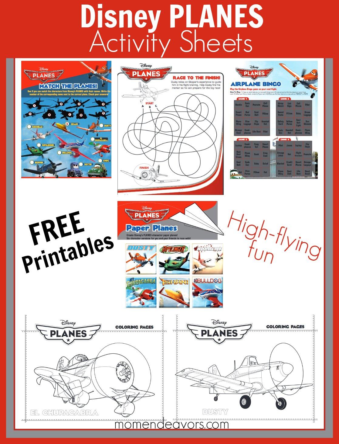 free printable disney planes activities coloring sheets
