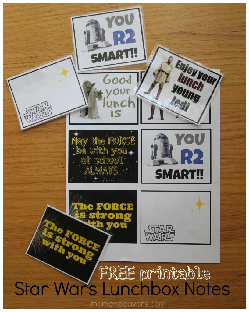 Free printable Star Wars Lunchbox Notes
