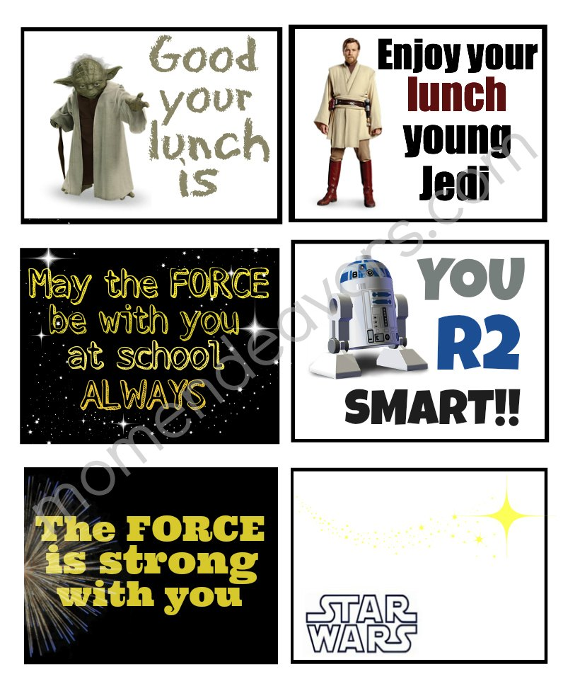 picture relating to Printable Star Wars Images referred to as Star Wars University Lunch with Free of charge Lunch Box Printables