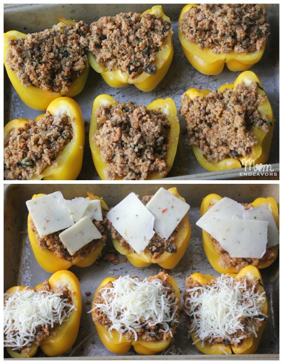 turkey & quinoa stuffed yellow peppers