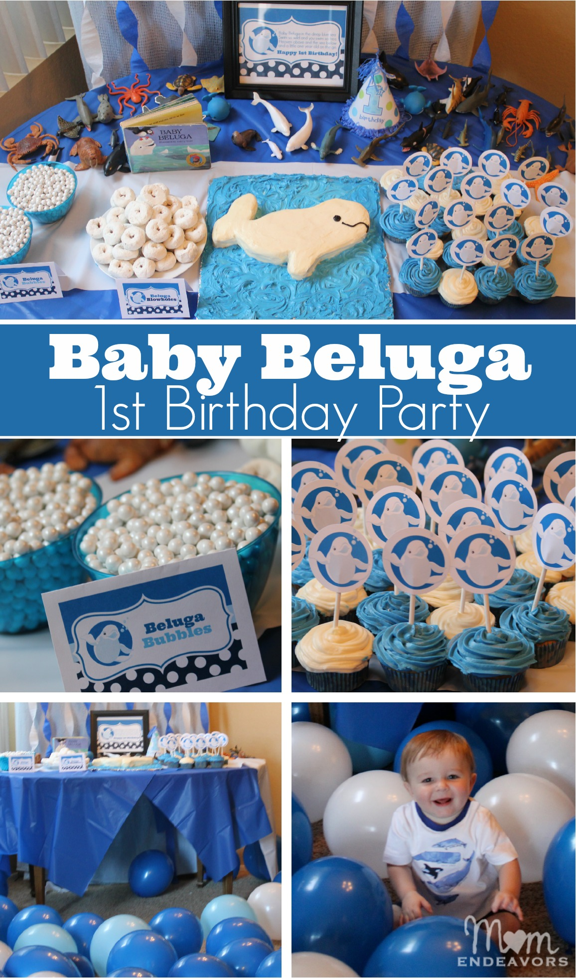 Baby beluga 1st birthday party for Baby birthday ideas of decoration