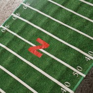 DIY Football Field Table Cover {College Football Tailgate Party}