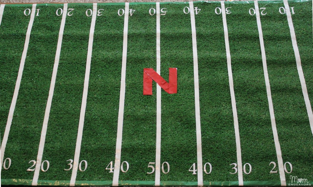 DIY Nebraska Huskers Football Field table Cover