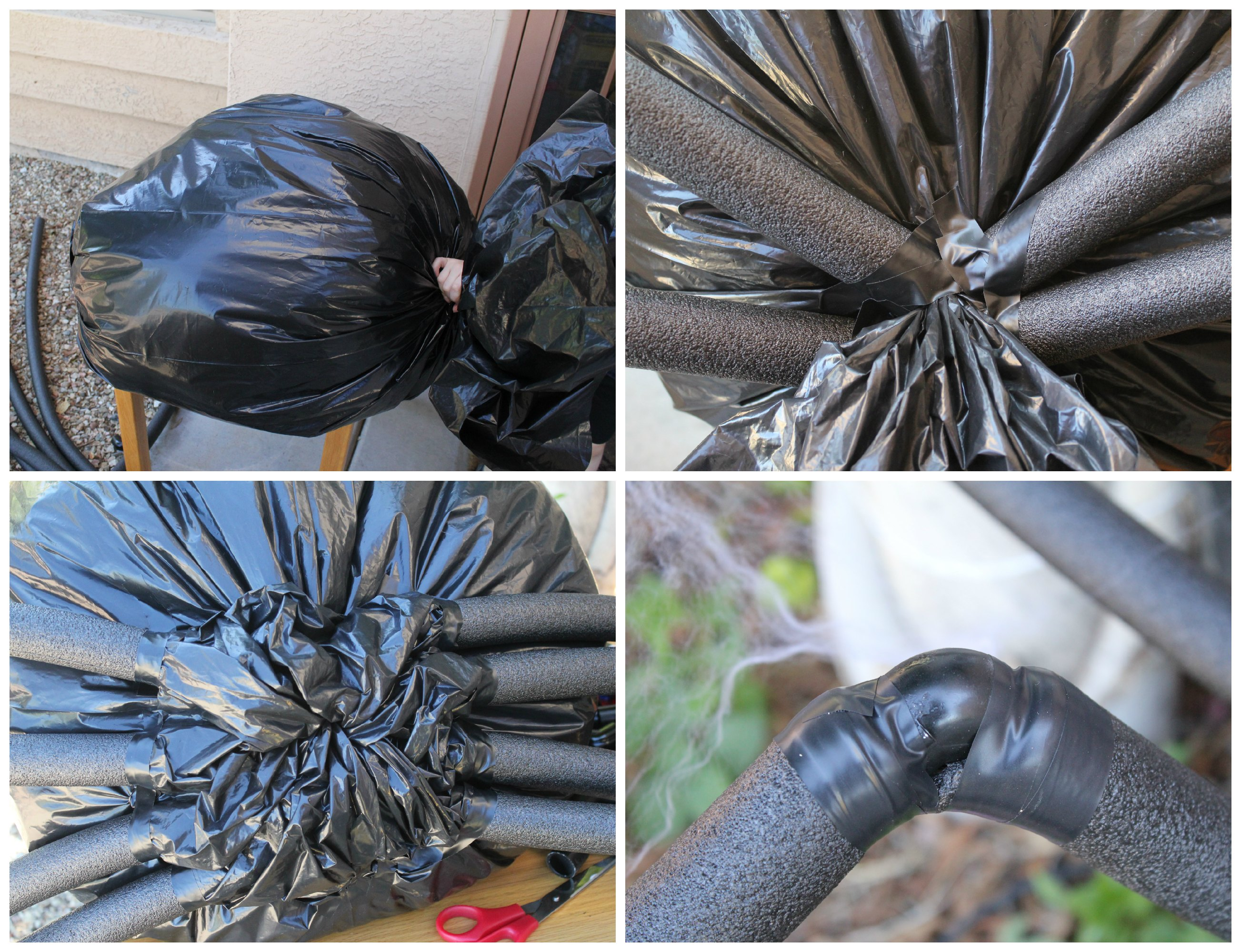 Scary outdoor halloween decorations to make - Making A Giant Yard Spider For Halloween