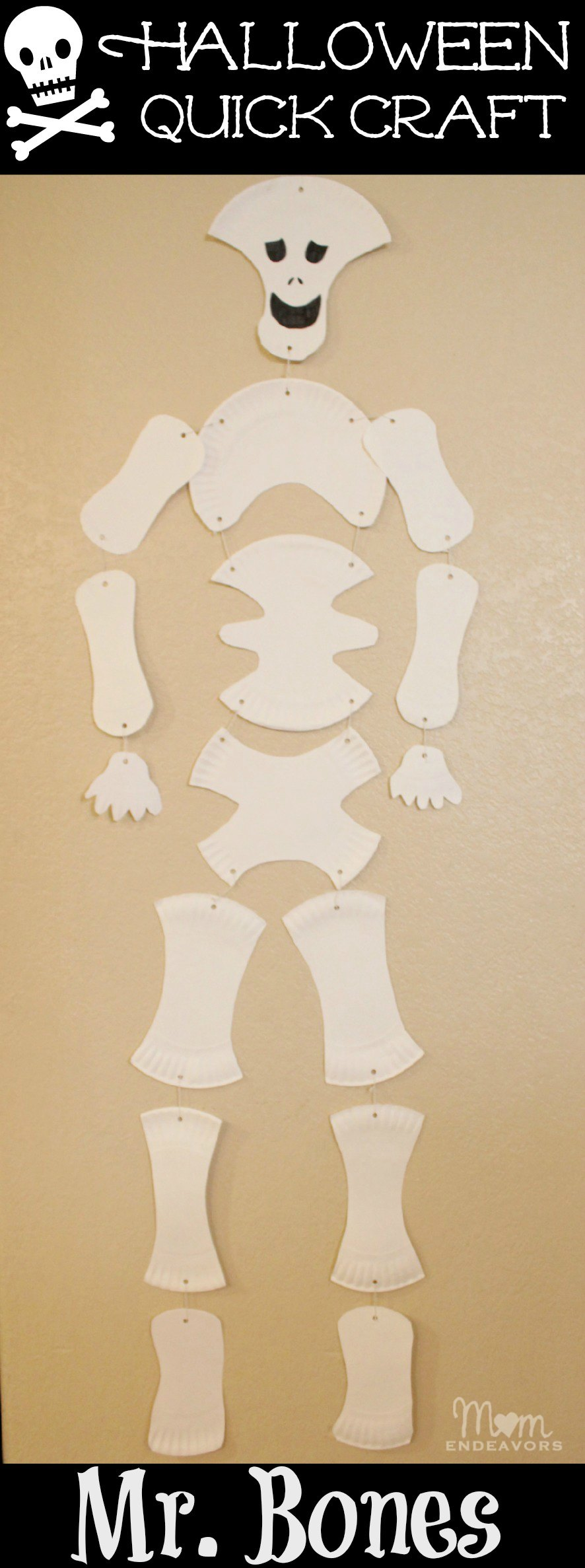 Paper Plate Skeleton Halloween Craft