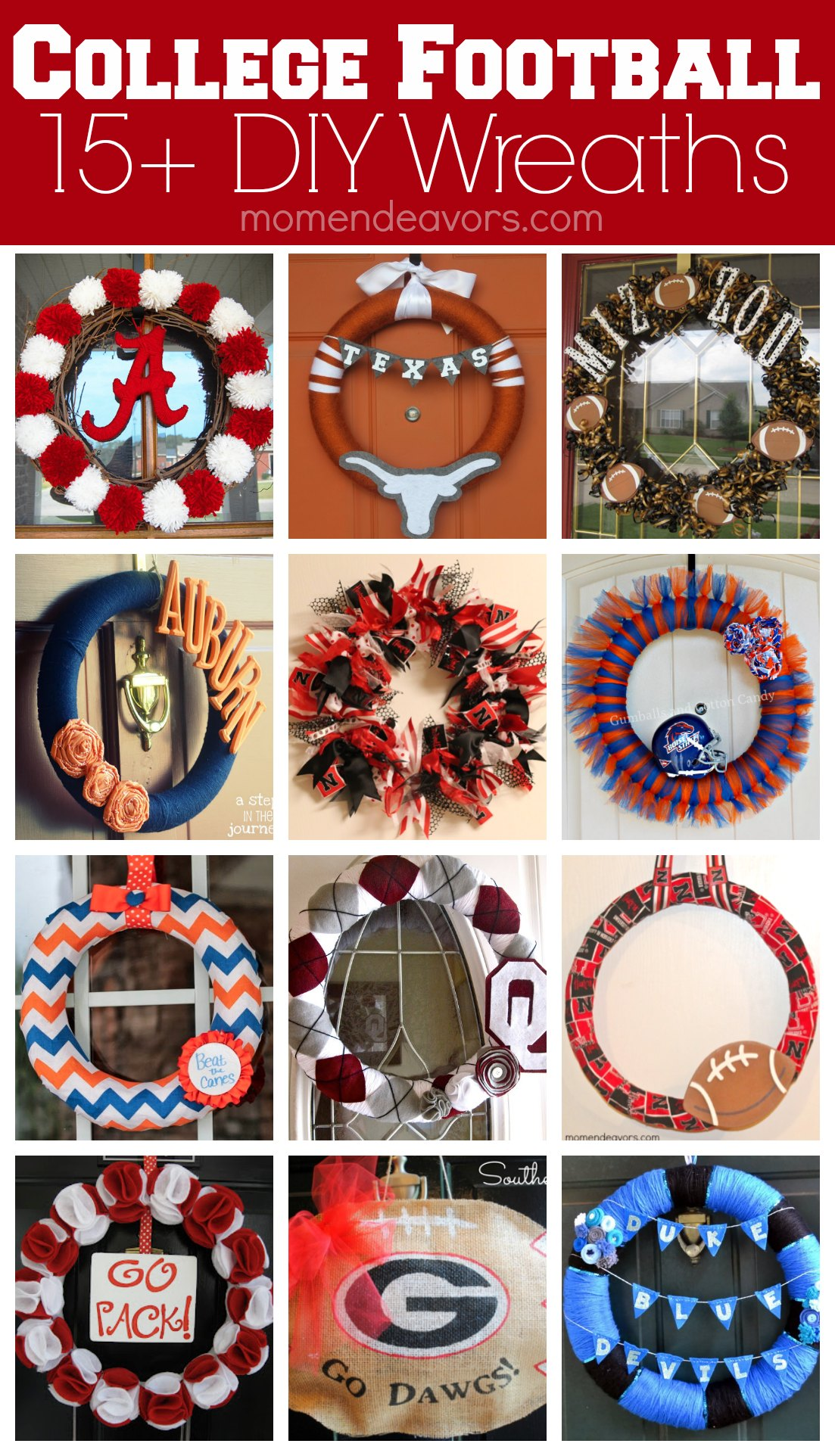 15 Diy Football Team Spirit Wreaths College Football Tailgate Link Party Mom Endeavors