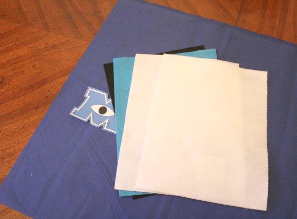 DIY Monsters University bag supplies